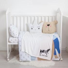 "Одеяло-плед с вышивкой ""Крошка Я"" Mr. Racoon, 90х100 см, велсофт"