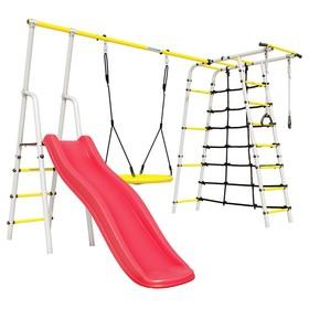 Детский спортивный комплекс уличный «Богатырь Плюс 2», 3572 × 2443 × 1855 мм, качели гнездо