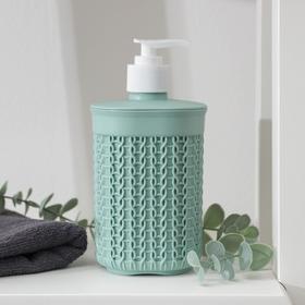 Диспенсер для мыла IDEA «Вязание», 500 мл, цвет фисташковый