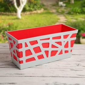 Ящик балконный «Мозаика», 40×17×18,5 см, цвет красный