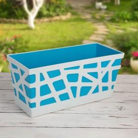 Ящик балконный «Мозаика», 40×17×18,5 см, цвет синий