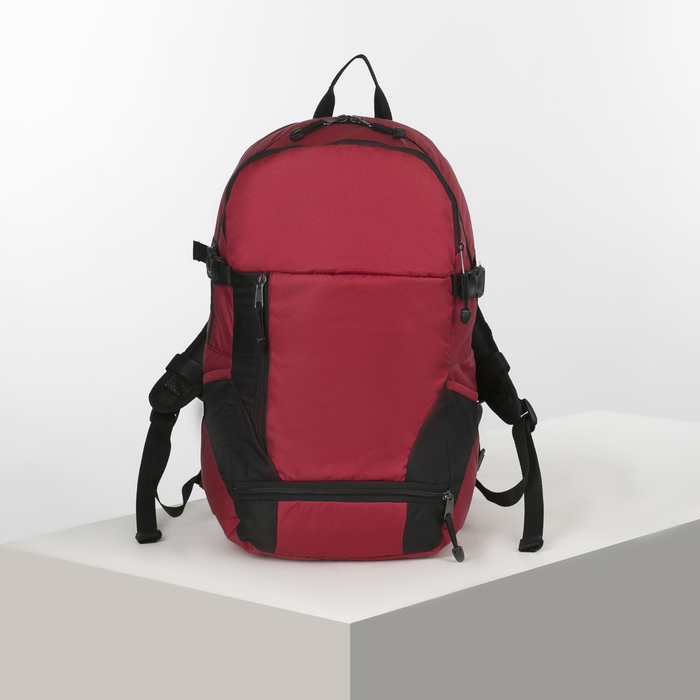 Рюкзак тур Вояджер 3, 45л,2 отд на молниях, н/карман, черный/вишня