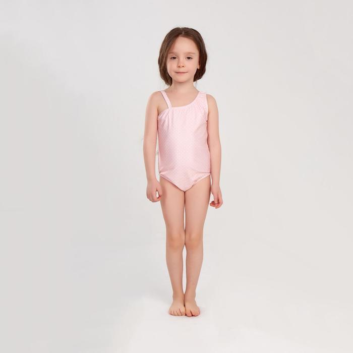 """Купальник слитный MINAKU в мелкий горошек""""Sunny Life"""",рост 116-122см(6),цвет розовый"""