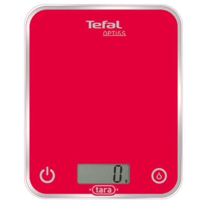 Весы кухонные Tefal BC 5003, стекло, 2хААА, до 5 кг, красные