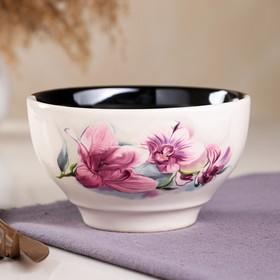 Салатник черно-белый,  деколь орхидея, 0,6 л