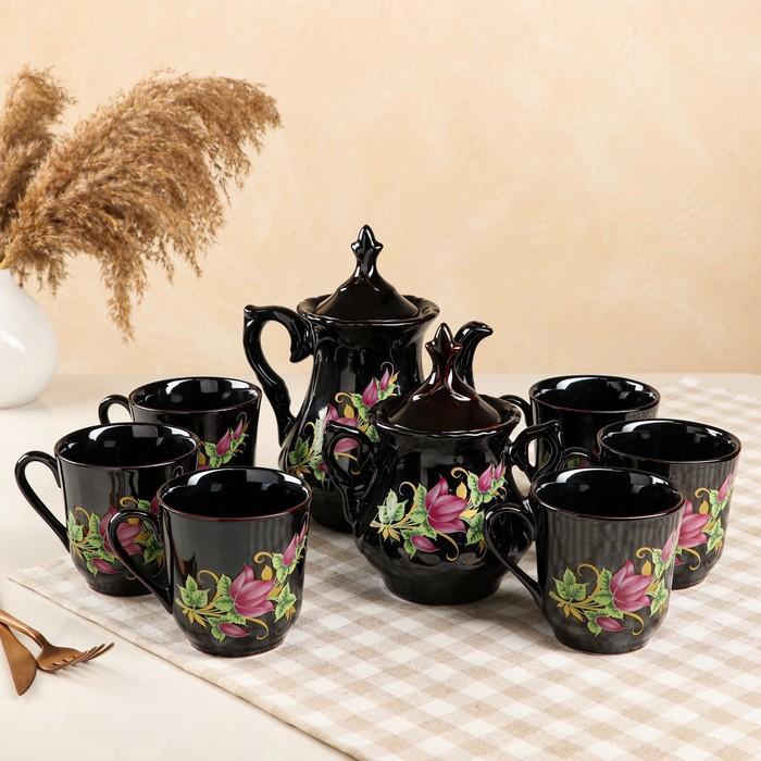 """Чайный сервиз """"Александра"""", 8 предметов, деколь цветы - фото 243726"""