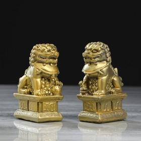 """Копилки """"Небесные львы"""", набор из 2-х шт, золотистый цвет,11 см"""