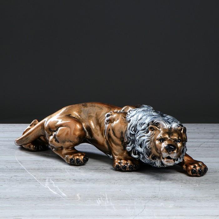 """Статуэтка """"Крадущийся лев"""", бронзовый цвет, 16 см"""