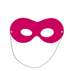 Mask is on elastic band, the color purple, cardboard
