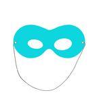 Mask is on elastic band, color turquoise, cardboard
