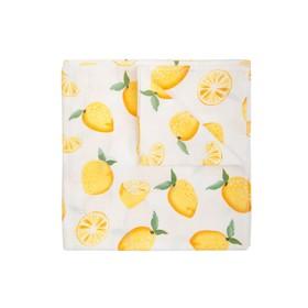 Пелёнка, размер 120 × 120 см, муслин, принт лимон