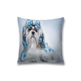Наволочка декоративная «Собачка и бигуди», размер 45 х 45 см, вшитая молния