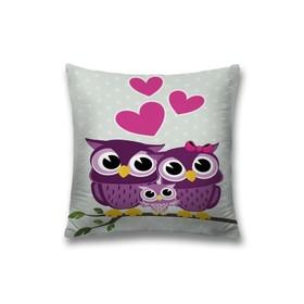 Наволочка декоративная «Влюблённые совушки», размер 45 х 45 см, вшитая молния