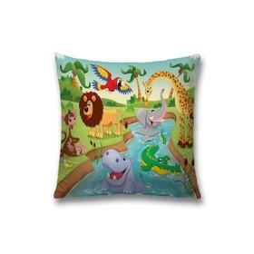 Наволочка декоративная «Веселые зверята», размер 45 х 45 см, вшитая молния