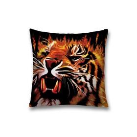 Наволочка декоративная «Огненный тигр», размер 45 х 45 см, вшитая молния