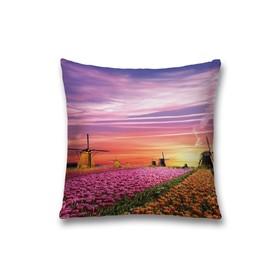 Наволочка декоративная «Поле тюльпанов», размер 45 х 45 см, вшитая молния