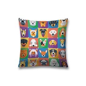 Наволочка декоративная «Собаки в стиле поп - арт», размер 45 х 45 см, вшитая молния