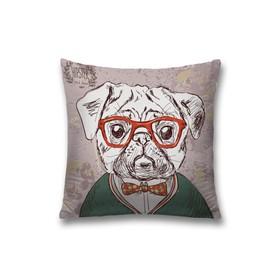 Наволочка декоративная «Пёс хипстер», размер 45 х 45 см, вшитая молния