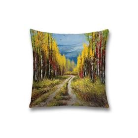 Наволочка декоративная «Дорога в лесу», размер 45 х 45 см, вшитая молния