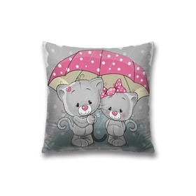 Наволочка декоративная «Котики под зонтом», размер 45 х 45 см, вшитая молния