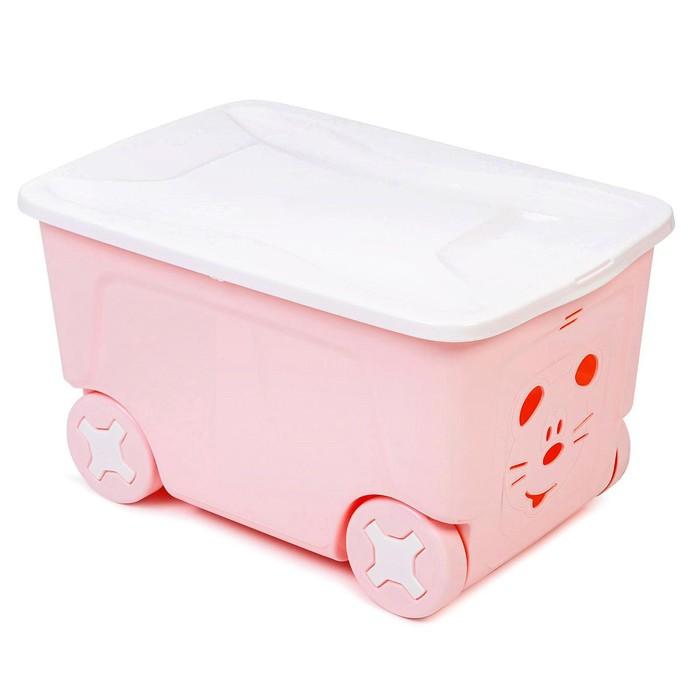Детский ящик для игрушек COOL на колесах 50 литров, цвет розовый - фото 105493835