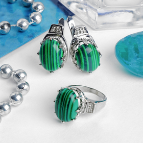"""Set 2 PR silver plated: earring, ring, oval large """"malachite"""" R-R MIX"""