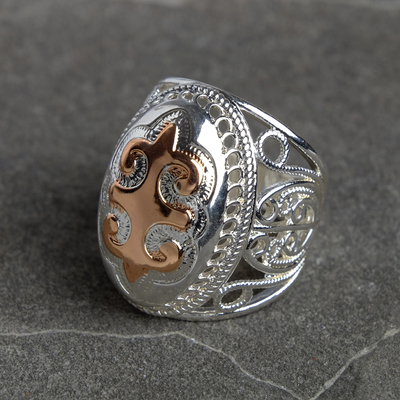 Ring silver Oval carved, size MIX