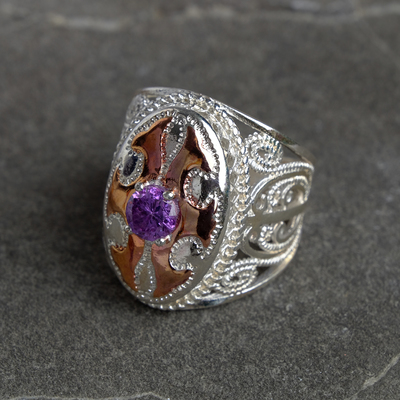 Ring silver Oval with strati, size MIX