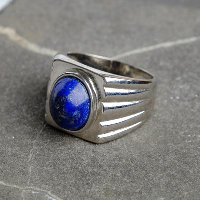 """Ring for men silver """"Lapis"""" mini size MIX"""