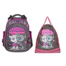 Рюкзак каркасный Hummingbird TK, 37 х 32 х 18, + мешок для обуви, для девочки, Love raine, серый/сиреневый