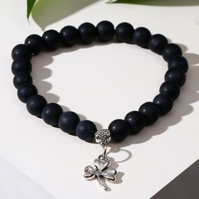 "Bracelet with pendant clover, ball No. 8 ""Shungit"""
