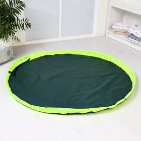 Развивающий коврик - сумка для игрушек, темно-зеленый, борт салатовый, d120
