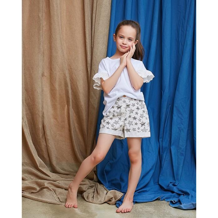 Шорты для девочки MINAKU: cotton collection romantic, цвет белый, рост 122 см