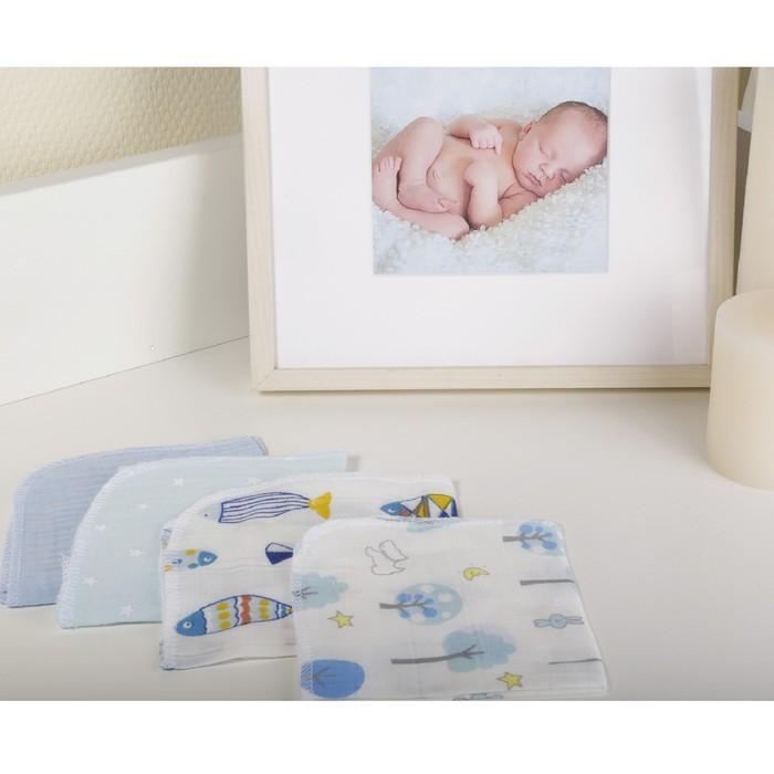 Платок носовой детский, размер 25×25 см-4 шт, голубой
