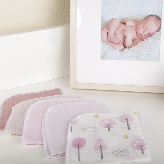 Платок носовой детский, размер 25×25 см-4 шт, розовый