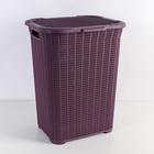 Корзина для белья с крышкой «Вязаный узор», 50 л, 42×33,5×56 см, цвет лиловый