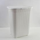 Корзина для белья «Вязаный узор», 50 л, цвет белый