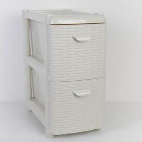 Комод-тумба 2-х секционный узкий «Ротанг», цвет белый