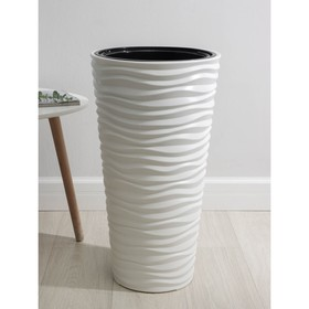 Кашпо со вставкой «Дюна», 42 л (8 л), цвет белый