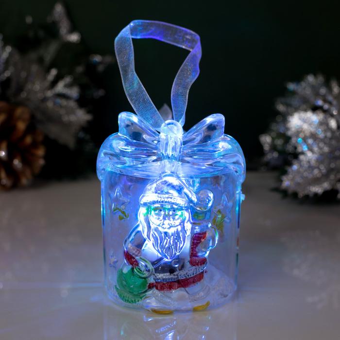 """Игрушка световая """"Подарок с Дедом морозом"""", батарейки в комплекте"""