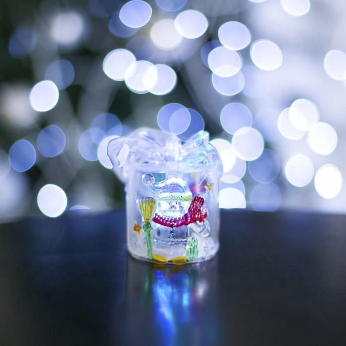 "Игрушка световая ""Подарок со снеговиком"" (батарейки в комплекте), 1 LED, RGB"