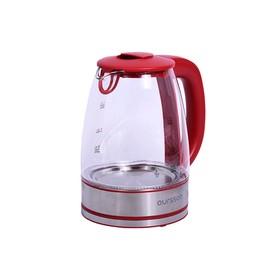 Чайник Oursson EK1744GD/RD, 2200 Вт, 1.7 л, стекло, регулировка температуры, красный