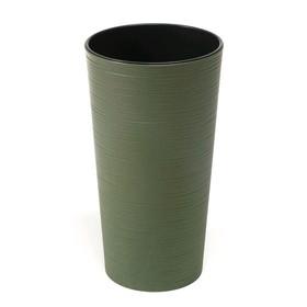 Пластиковый горшок с вкладышем «Лилия Эко Джуто», 19х36 см, цвет зелёный лес
