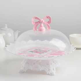 Dish for cake and brownies round 26х18,5 cm with cover Bowknot MIX color