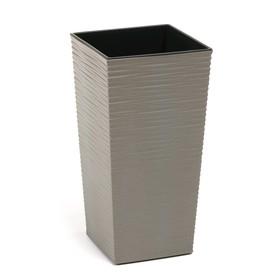 Пластиковый горшок с вкладкой «Финезия Эко Джуто», 25х25х46 см, цвет серый бетон