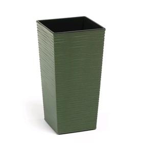 Пластиковый горшок с вкладкой «Финезия Эко Джуто», 25х25х46 см, цвет зелёный лес