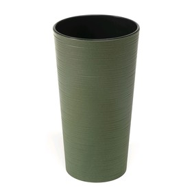 Пластиковый горшок с вкладышем «Лилия Эко Джуто», 25х46 см, цвет зелёный лес