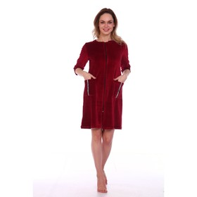 Women's robe with a zipper NICE, color burgundy, size 50