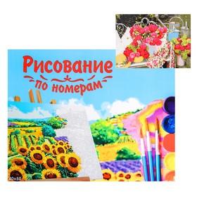 Картина по номерам на холсте, 40 × 50 см «Розовые цветы в саду»