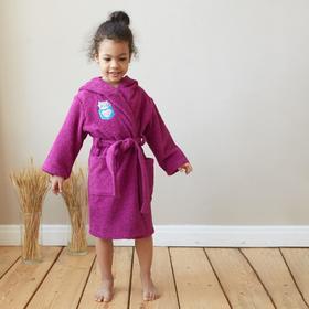 Халат махровый детский «Мяу», размер 30, цвет фиолетовый, с AIRO